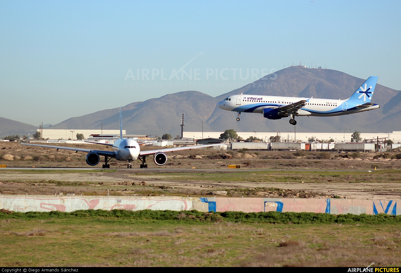 Interjet XA-SOB aircraft at Tijuana Intl