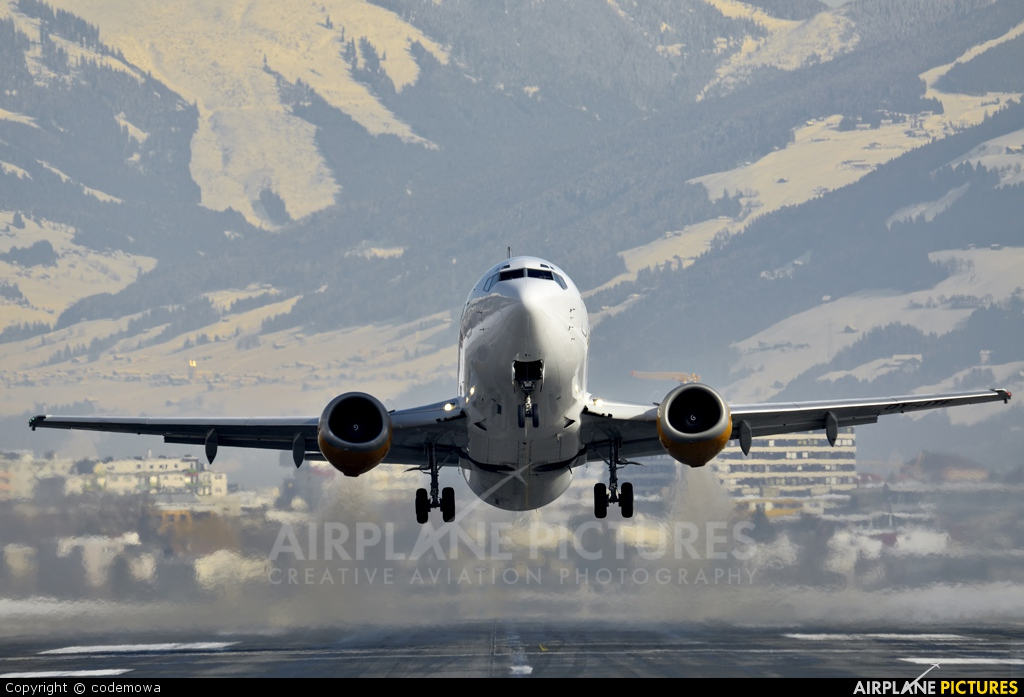 Jet Time OY-JTE aircraft at Innsbruck