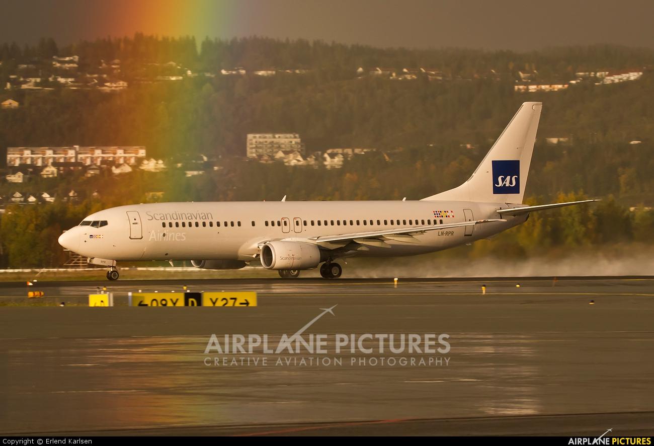 SAS - Scandinavian Airlines LN-RPR aircraft at Trondheim - Vaernes