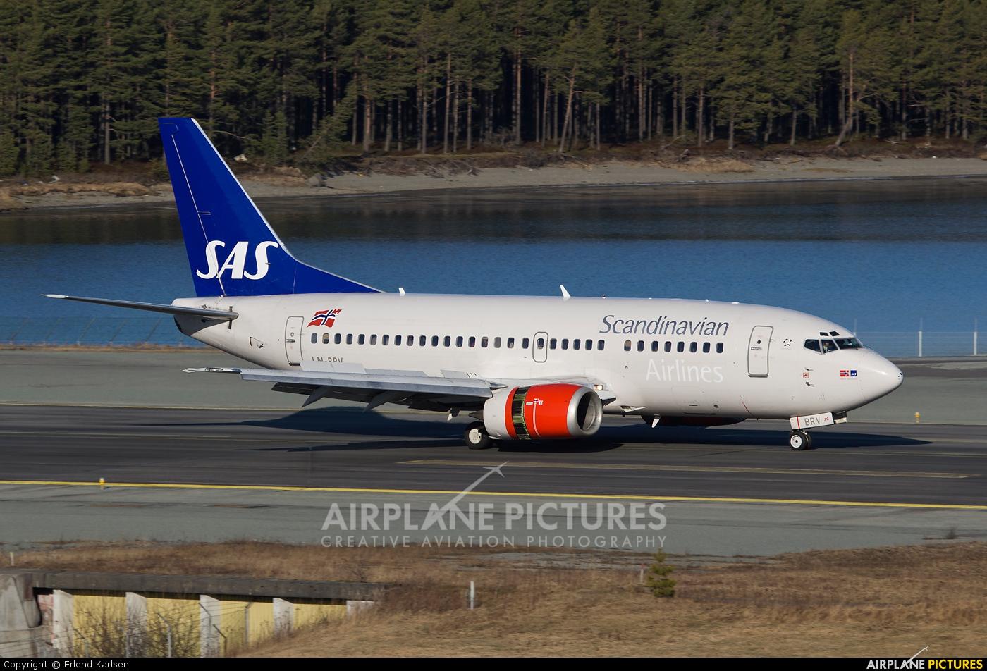 SAS - Scandinavian Airlines LN-BRV aircraft at Trondheim - Vaernes