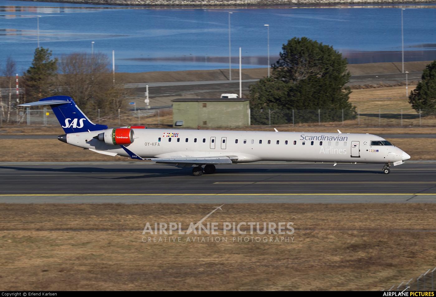 SAS - Scandinavian Airlines OY-KFA aircraft at Trondheim - Vaernes