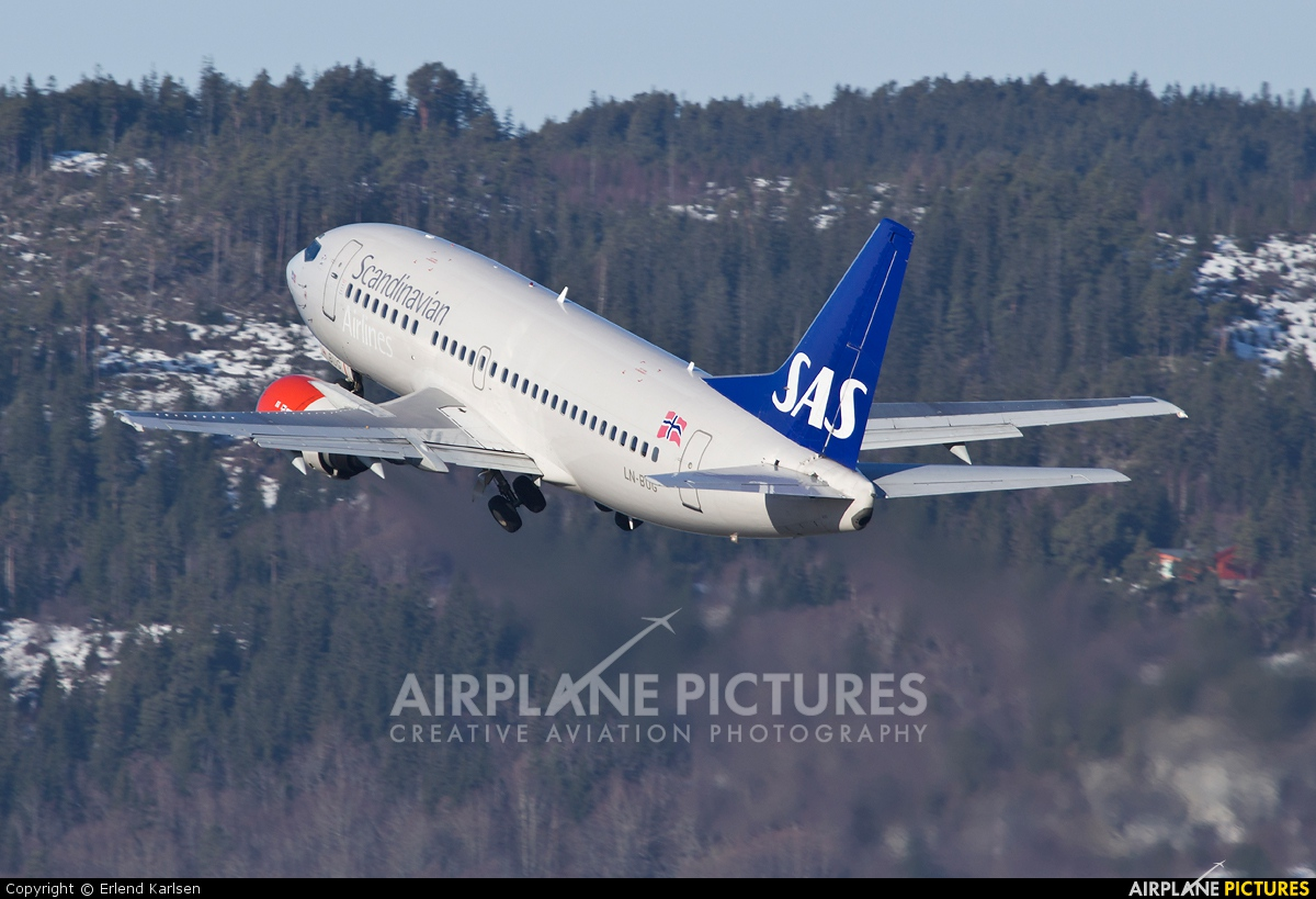 SAS - Scandinavian Airlines LN-BUG aircraft at Trondheim - Vaernes