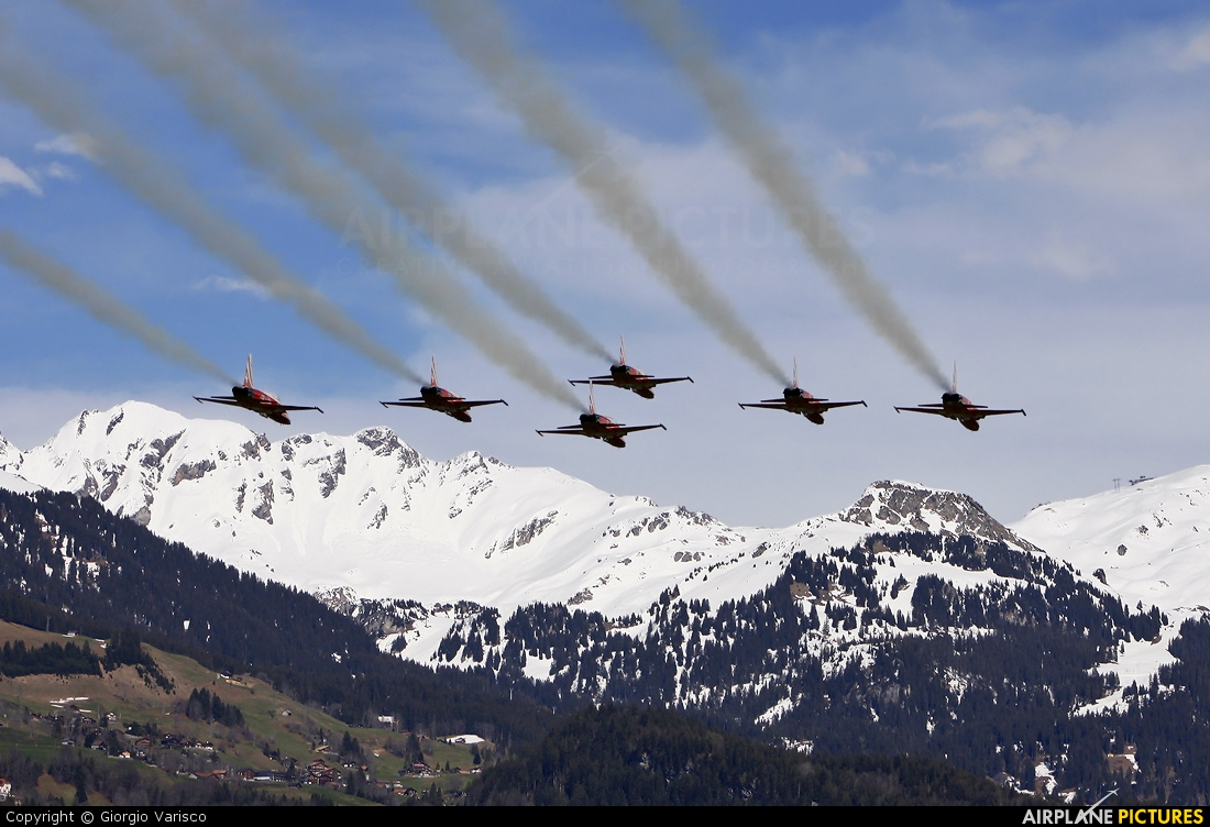 Switzerland - Air Force:  Patrouille de Suisse J-3087 aircraft at Meiringen