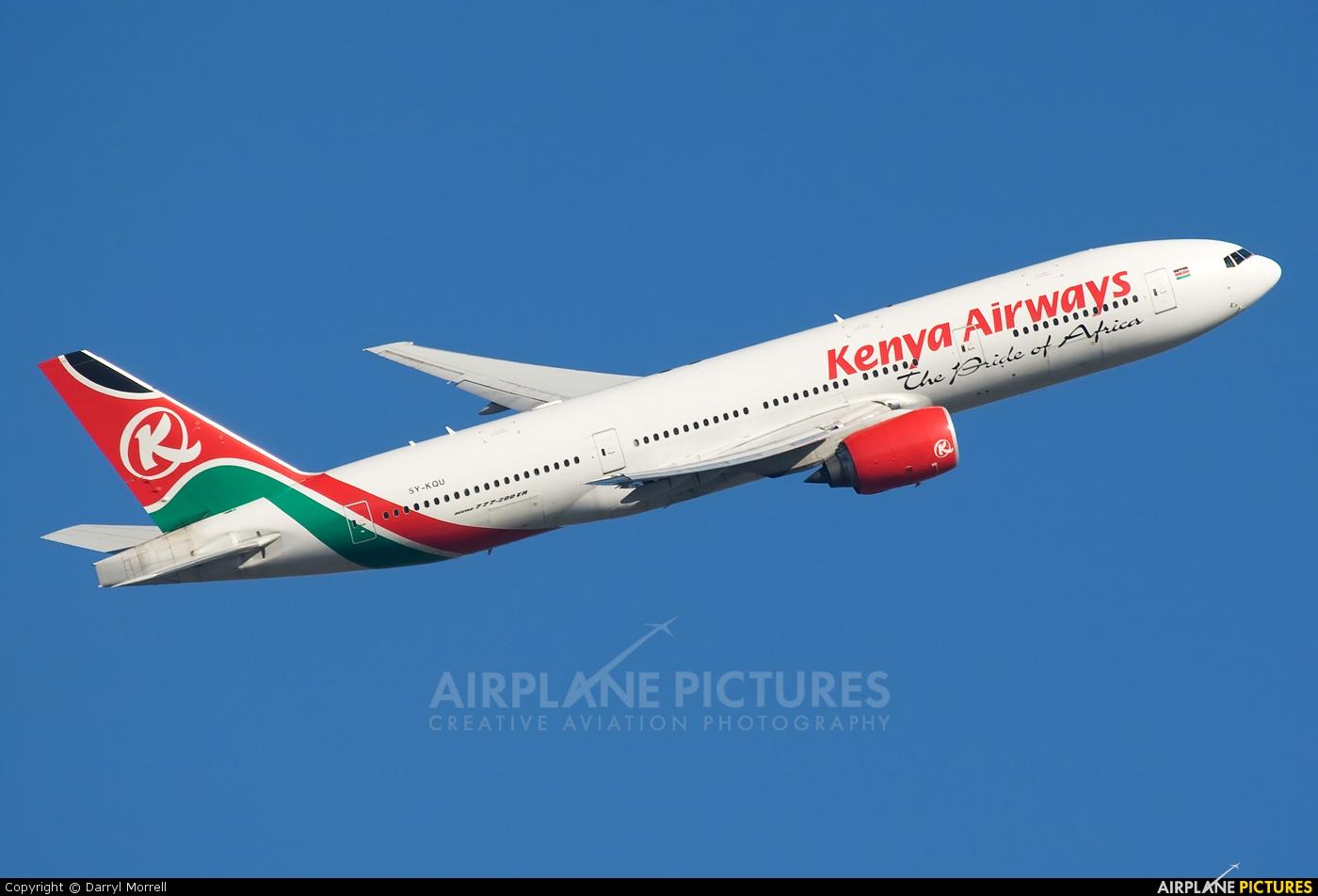 Kenya Airways 5Y-KQU aircraft at London - Heathrow