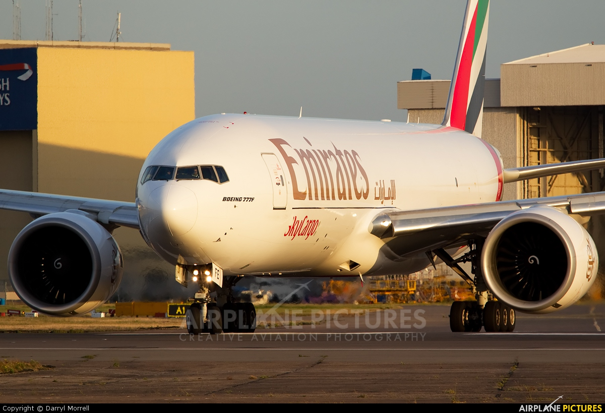 Emirates Sky Cargo A6-EFE aircraft at London - Heathrow