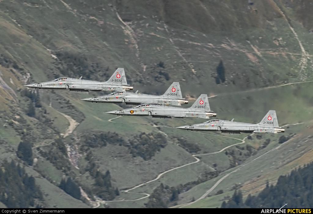 Switzerland - Air Force J-3033 aircraft at Axalp - Ebenfluh Range