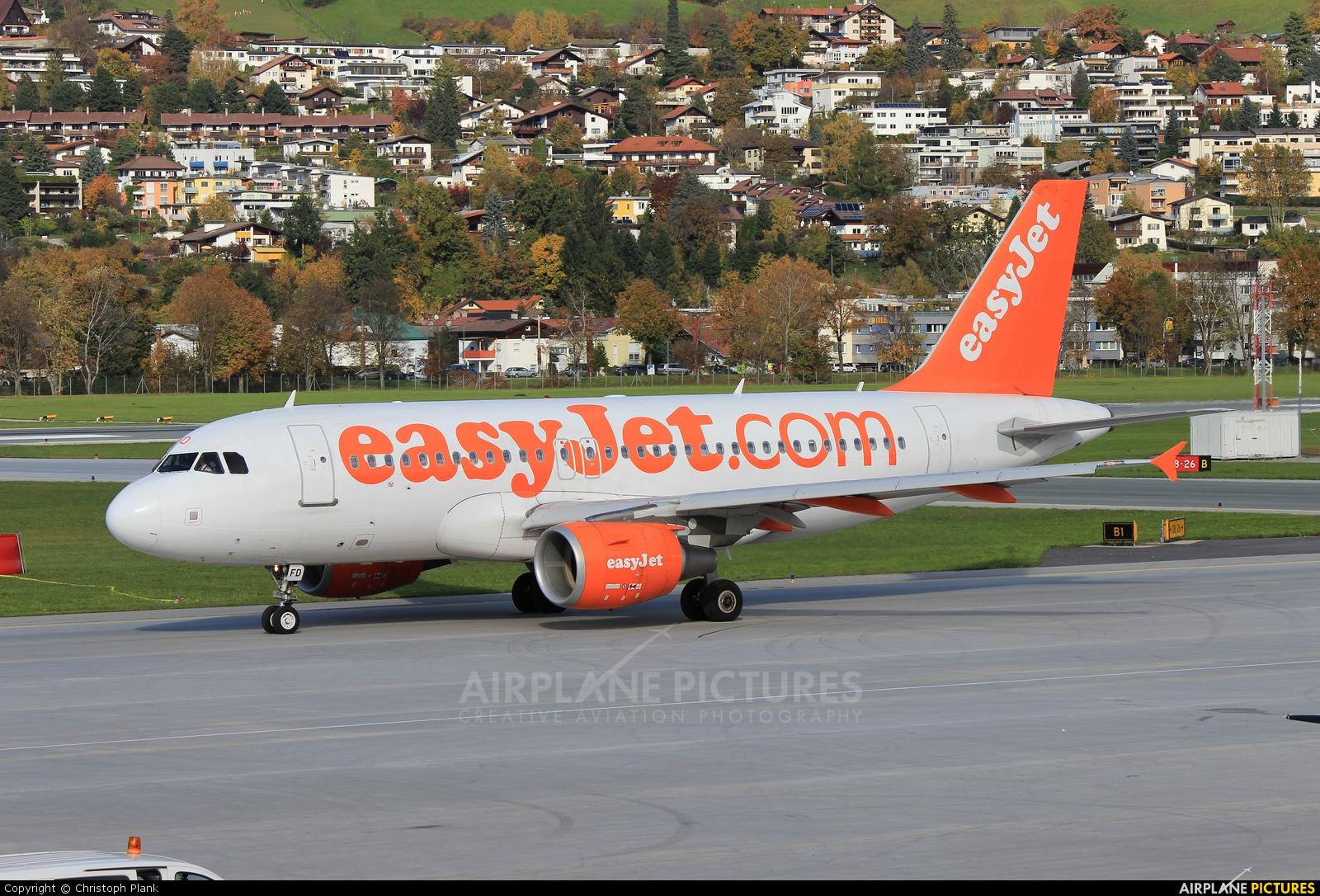 easyJet G-EZFD aircraft at Innsbruck