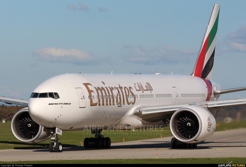 Emirates Airlines A6-EWB aircraft at Geneva Intl