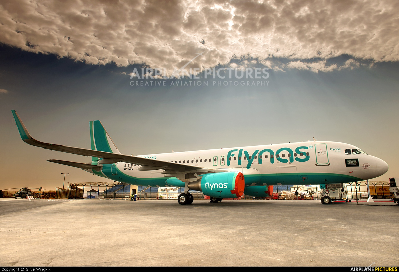 Flynas VP-CXJ aircraft at Jebel Ali Al Maktoum Intl