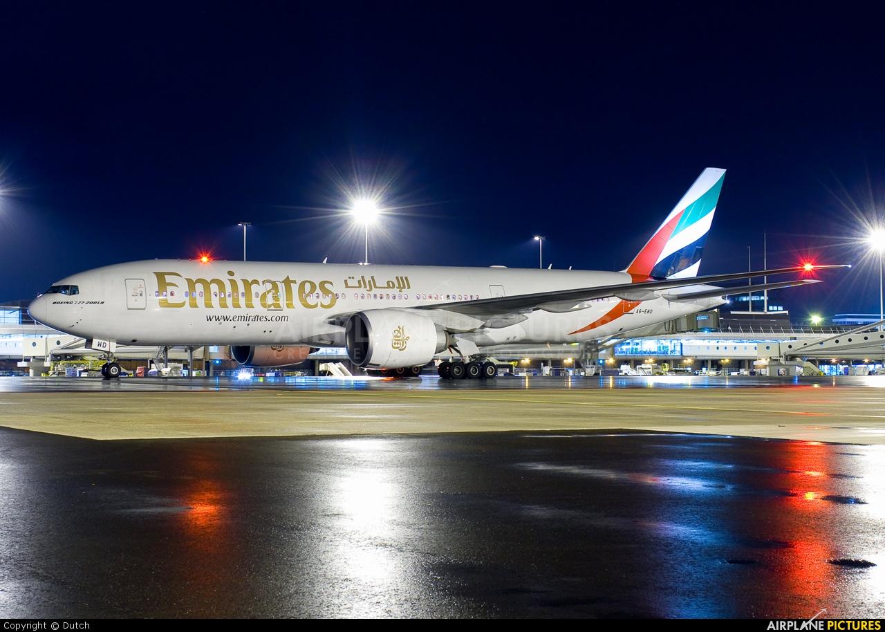 Emirates Airlines A6-EWD aircraft at Amsterdam - Schiphol