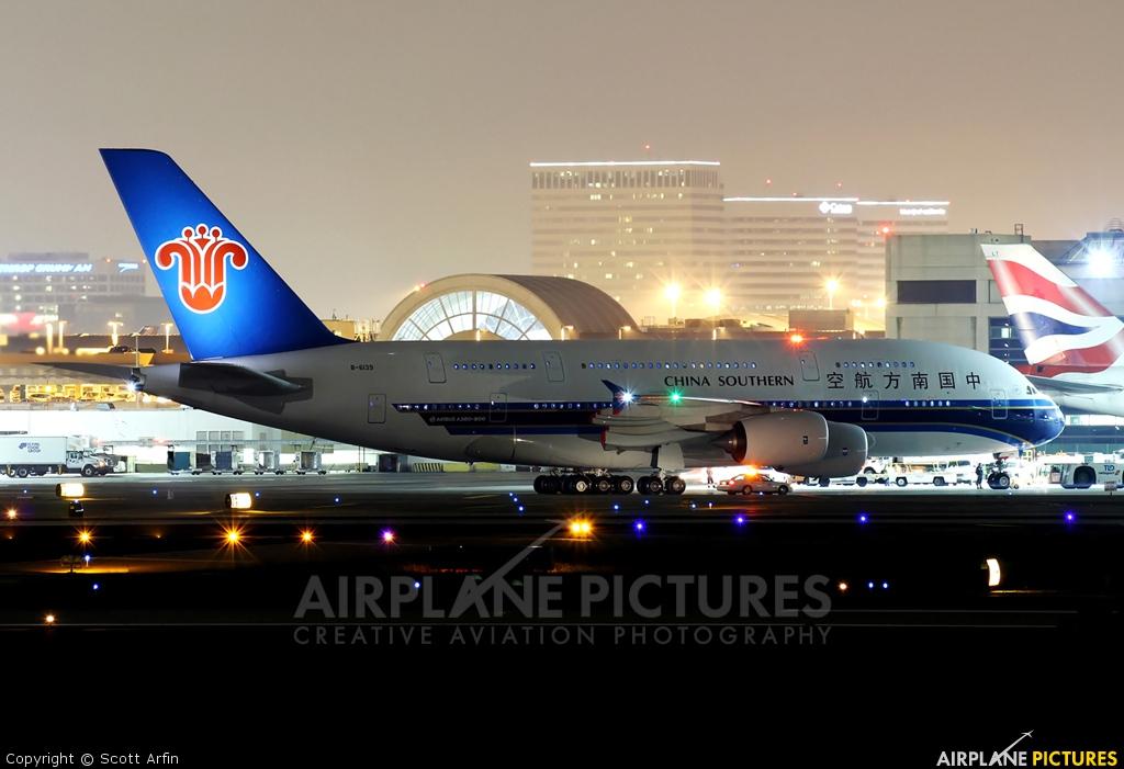 China Southern Airlines B-6139 aircraft at Los Angeles Intl