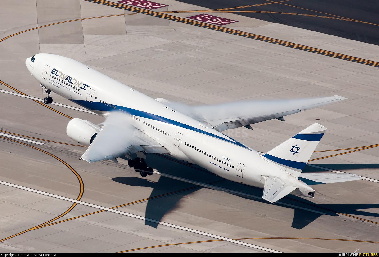 El Al Israel Airlines 4X-ECF aircraft at Los Angeles Intl