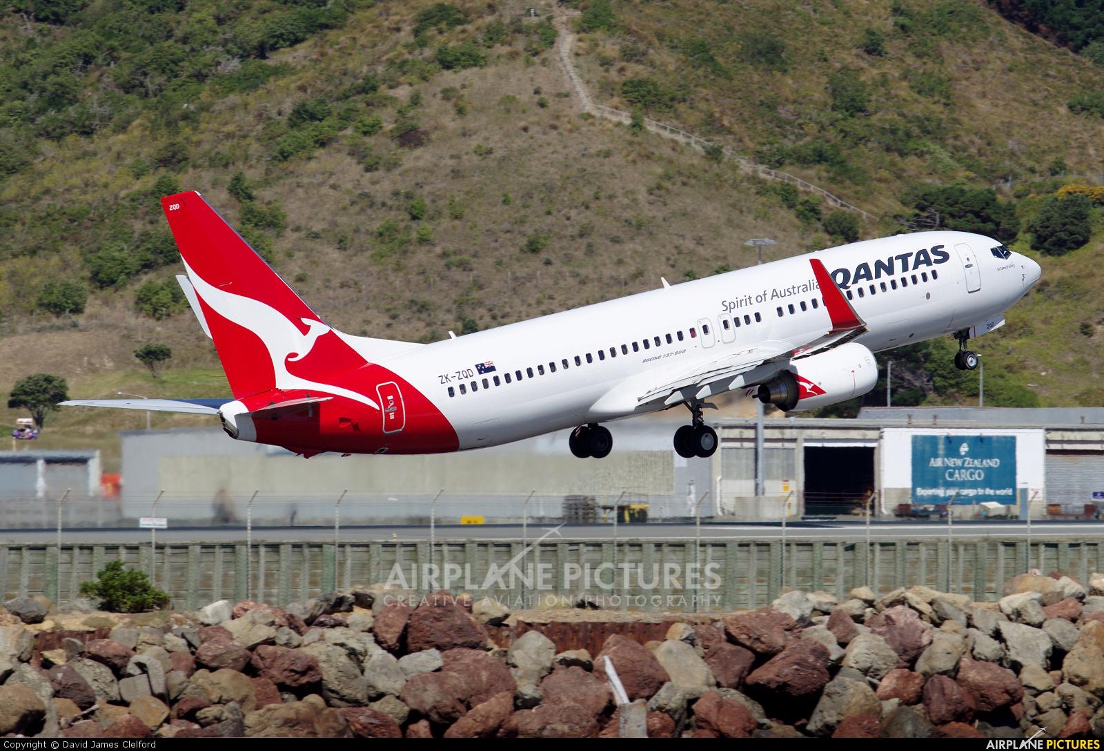 QANTAS ZK-ZQD aircraft at Wellington Intl