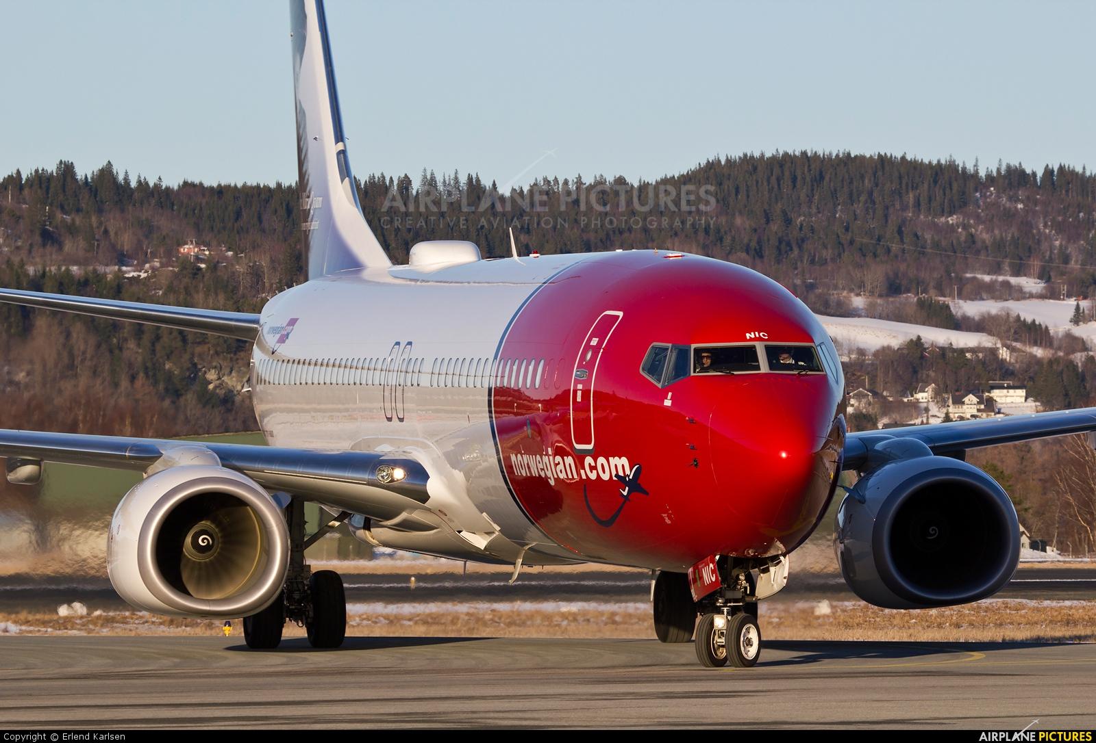 Norwegian Air Shuttle LN-NIC aircraft at Trondheim - Vaernes