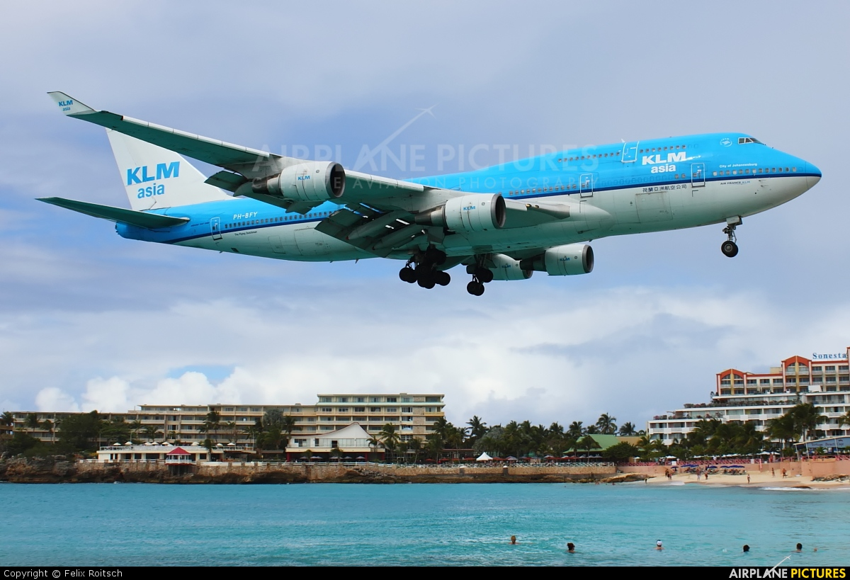 KLM Asia PH-BFY aircraft at Sint Maarten - Princess Juliana Intl