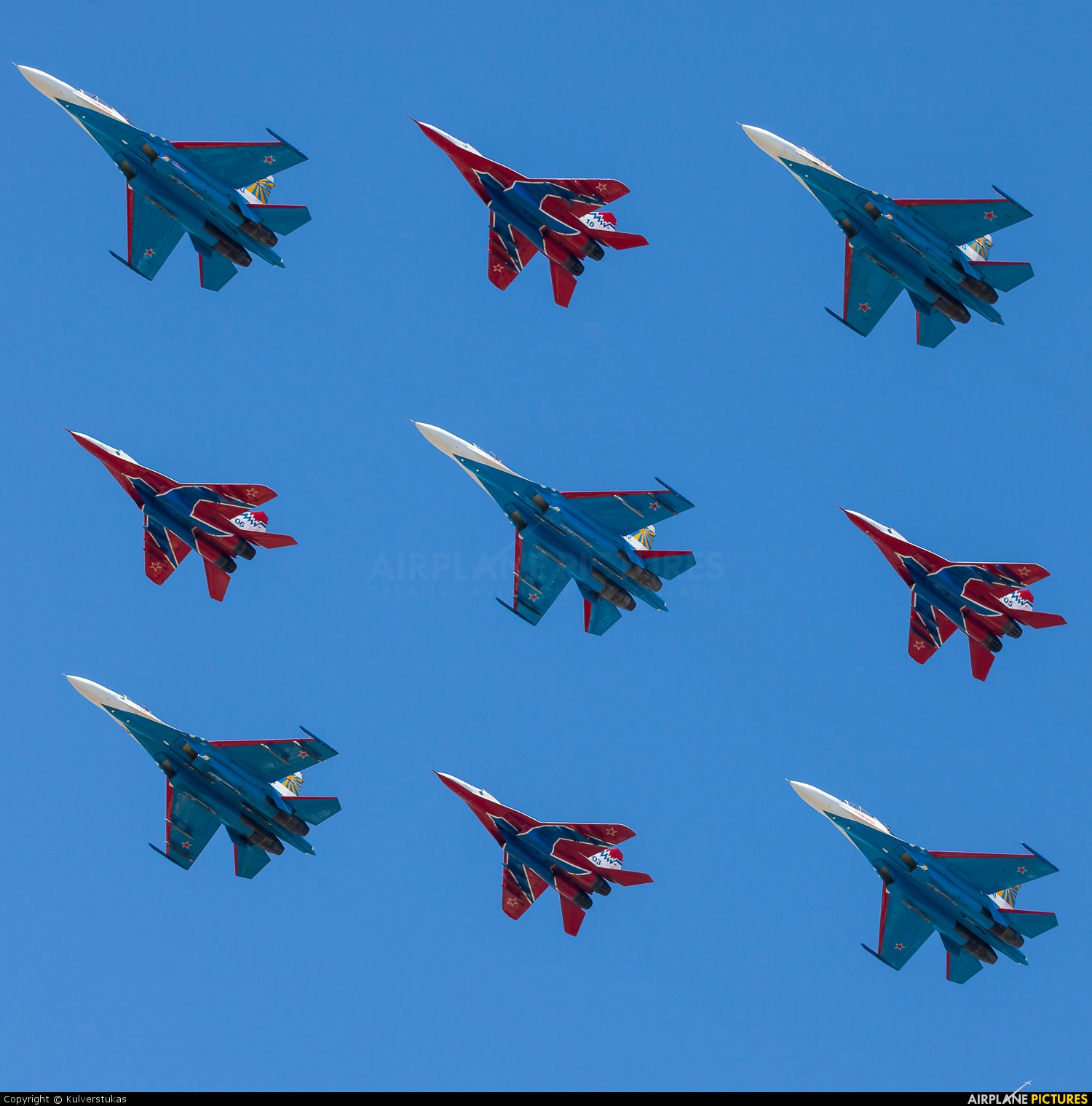 "Russia - Air Force ""Russian Knights"" 20 aircraft at Off Airport - Russia"
