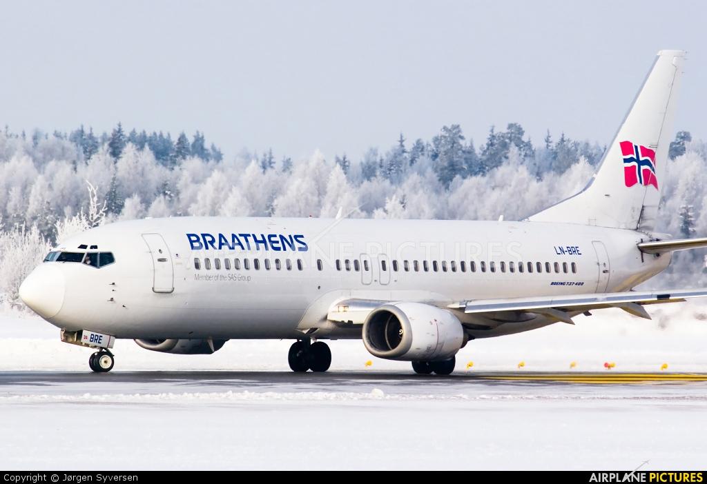 Braathens LN-BRE aircraft at Oslo - Gardermoen