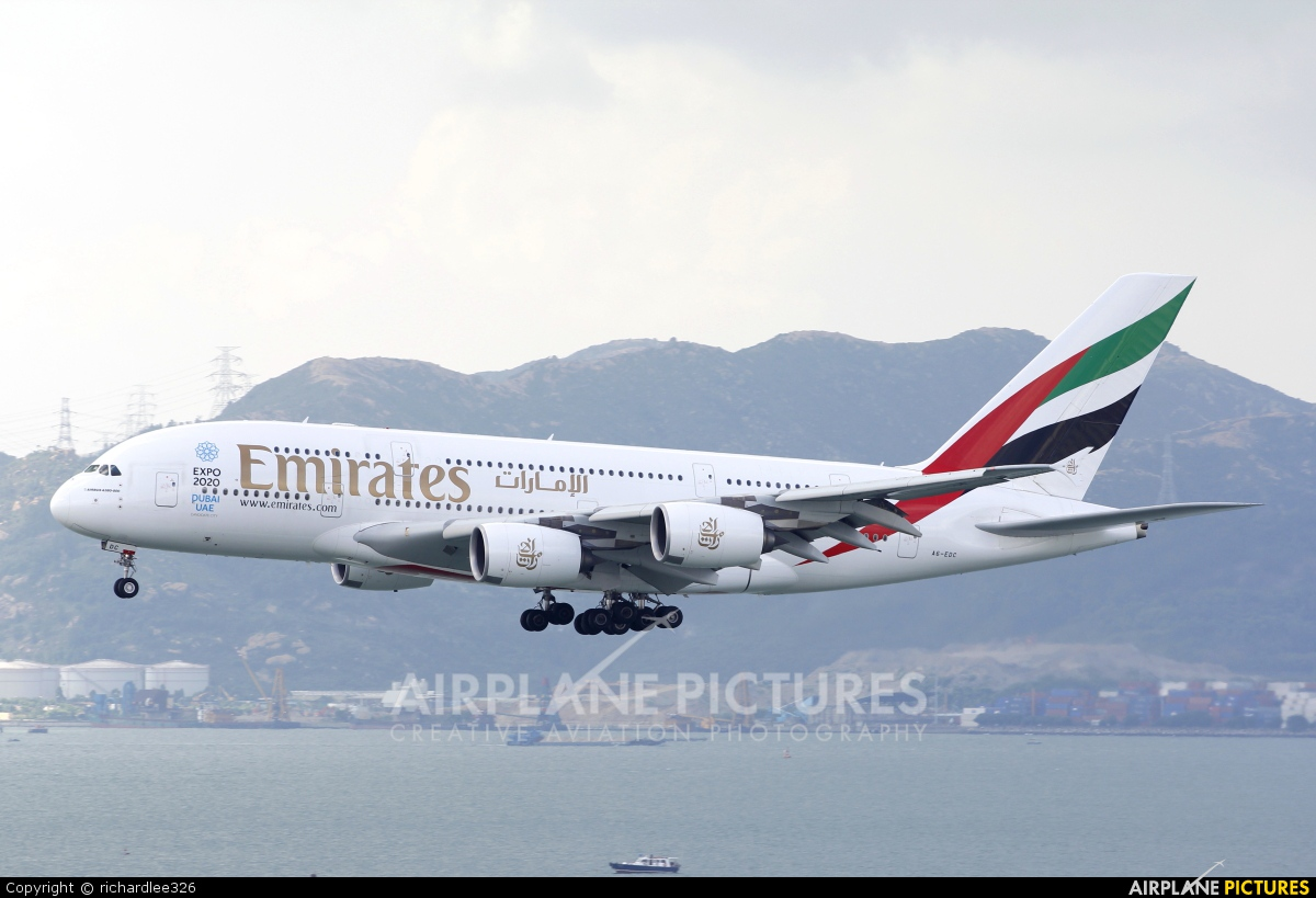 Emirates Airlines A6-EDC aircraft at HKG - Chek Lap Kok Intl