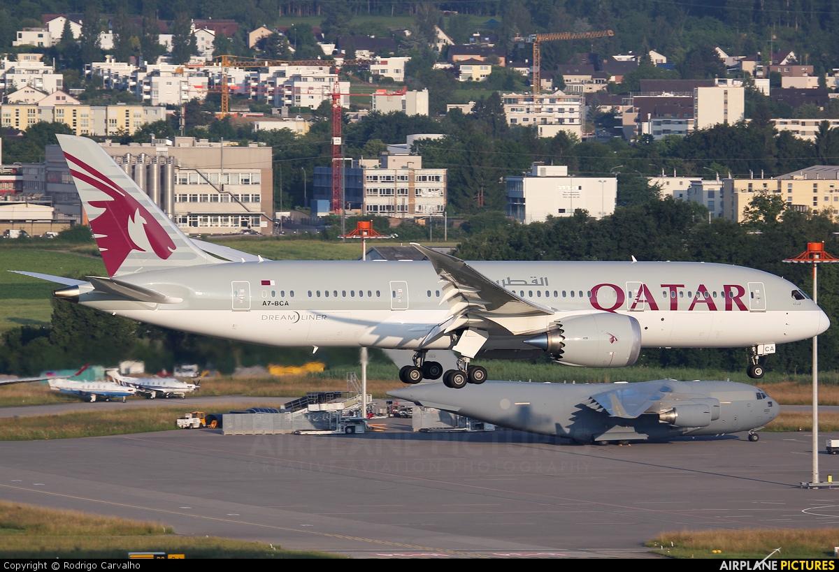 Qatar Airways A7-BCA aircraft at Zurich