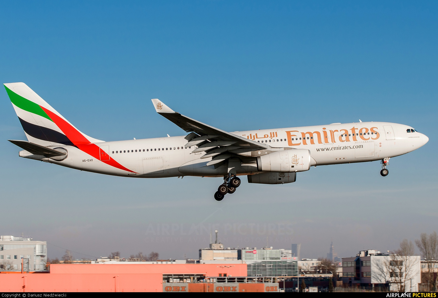 Emirates Airlines A6-EAO aircraft at Warsaw - Frederic Chopin