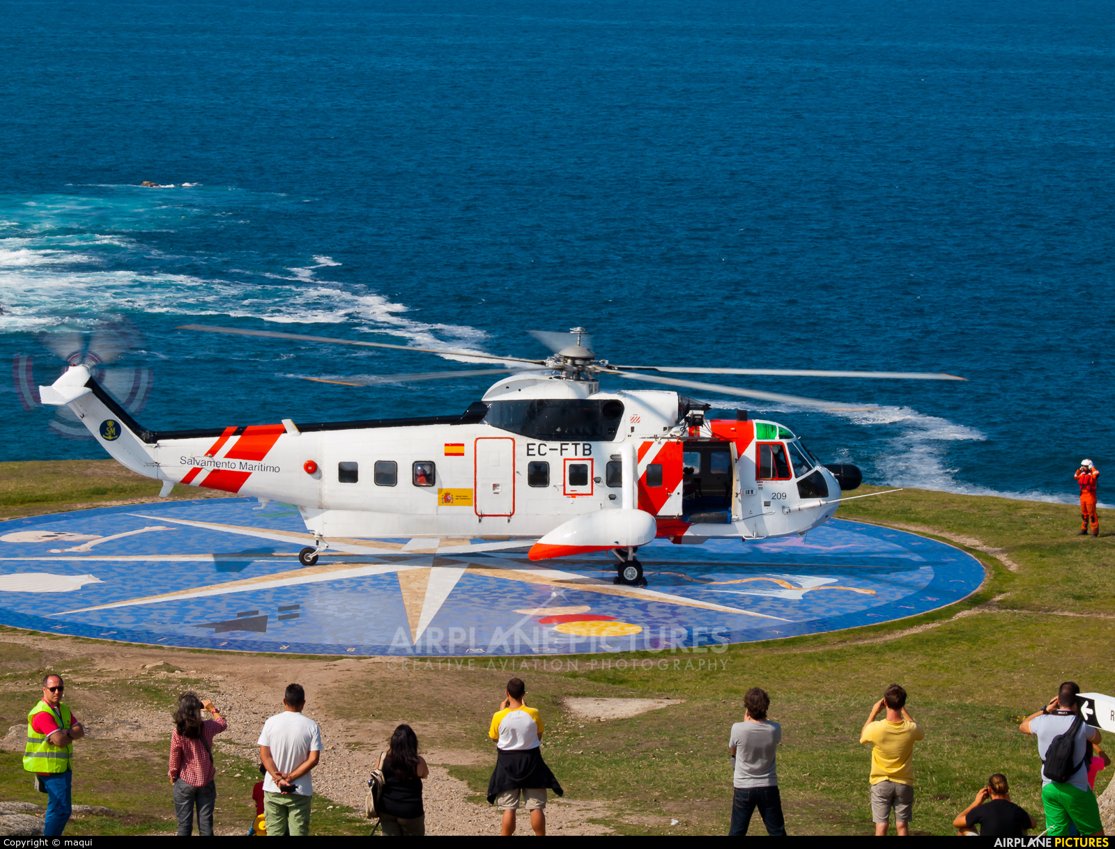 Spain - Coast Guard EC-FTB aircraft at La Coruña - Torre de Hercules
