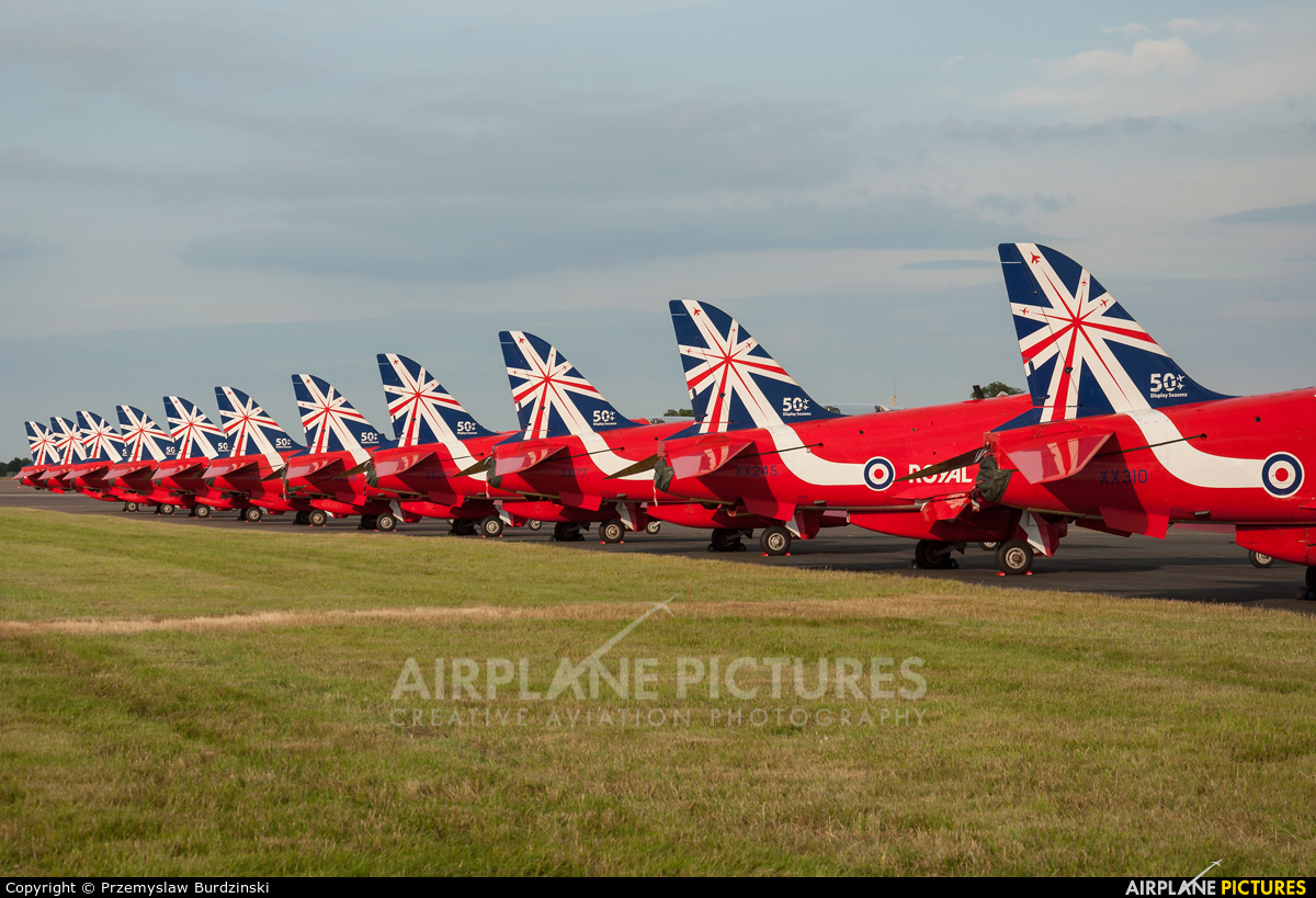 """Royal Air Force """"Red Arrows"""" XX310 aircraft at Waddington"""
