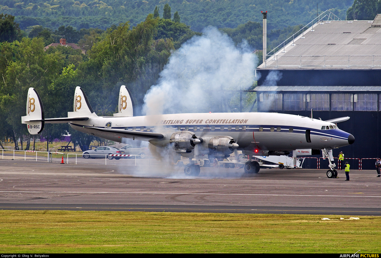 Super Constellation Flyers HB-RSC aircraft at Farnborough