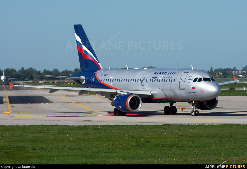 Aeroflot VP-BDN aircraft at Bologna - Borgo Panigale