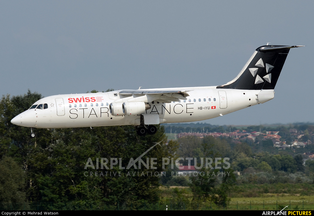 Swiss HB-IYU aircraft at Budapest Ferenc Liszt International Airport