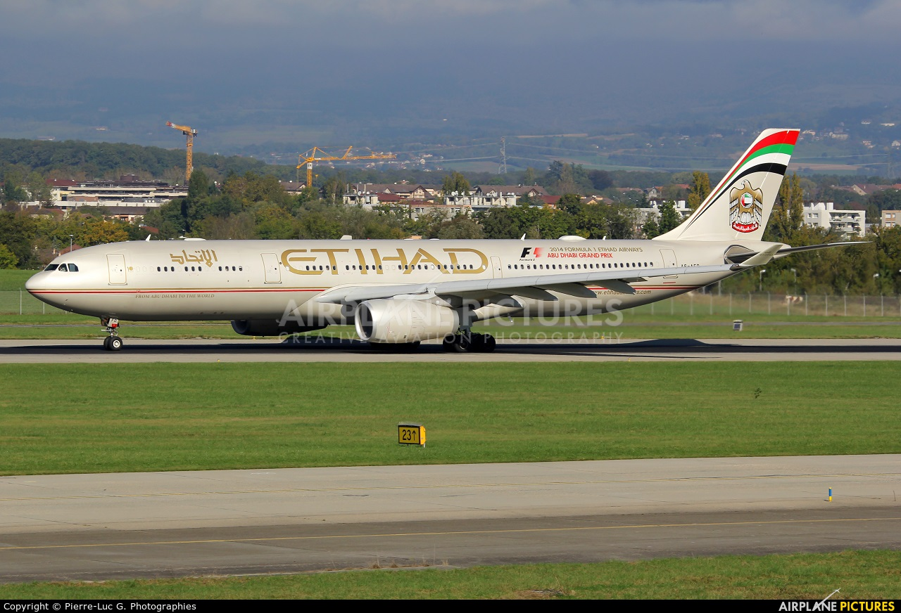 Etihad Airways A6-AFD aircraft at Geneva Intl