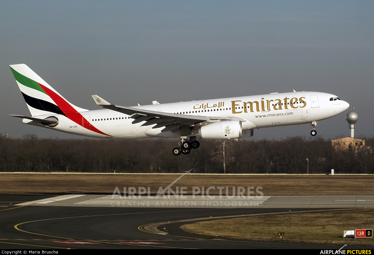Emirates Airlines A6-EAK aircraft at Budapest Ferenc Liszt International Airport