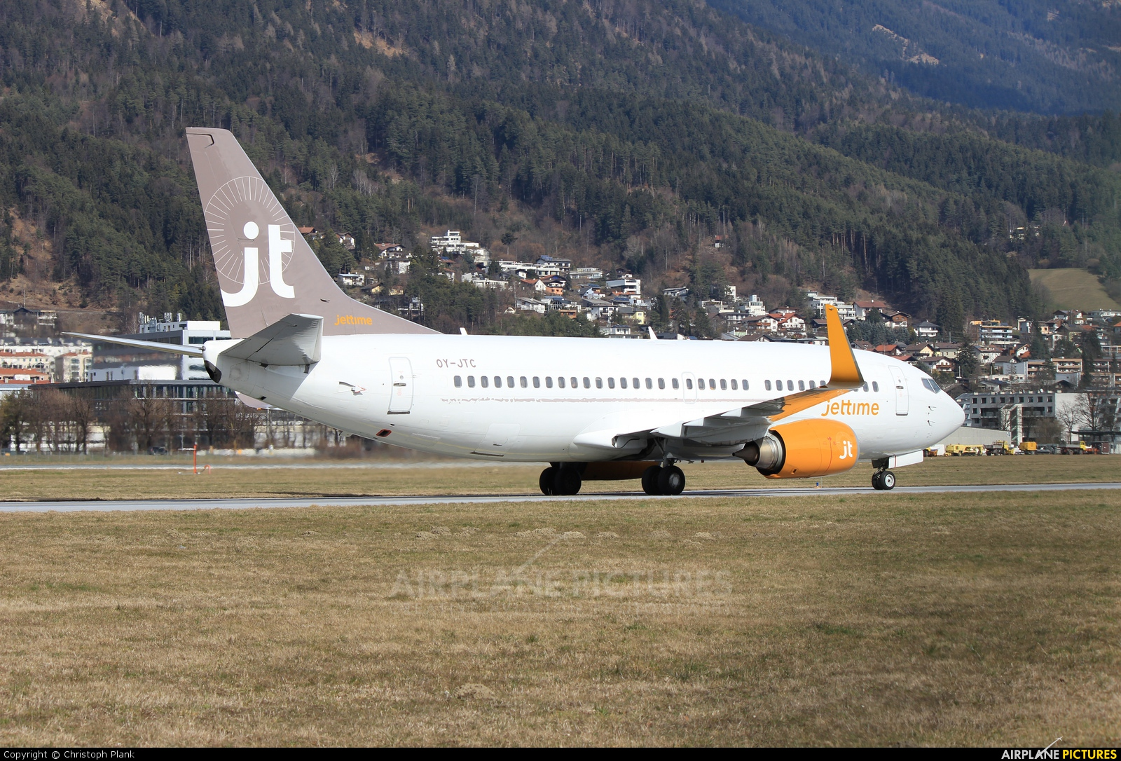 Jet Time OY-JTC aircraft at Innsbruck