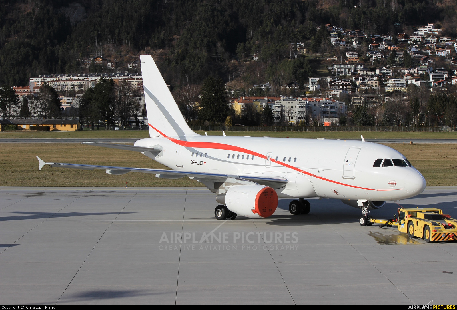 Tyrolean Jet Service OE-LUX aircraft at Innsbruck
