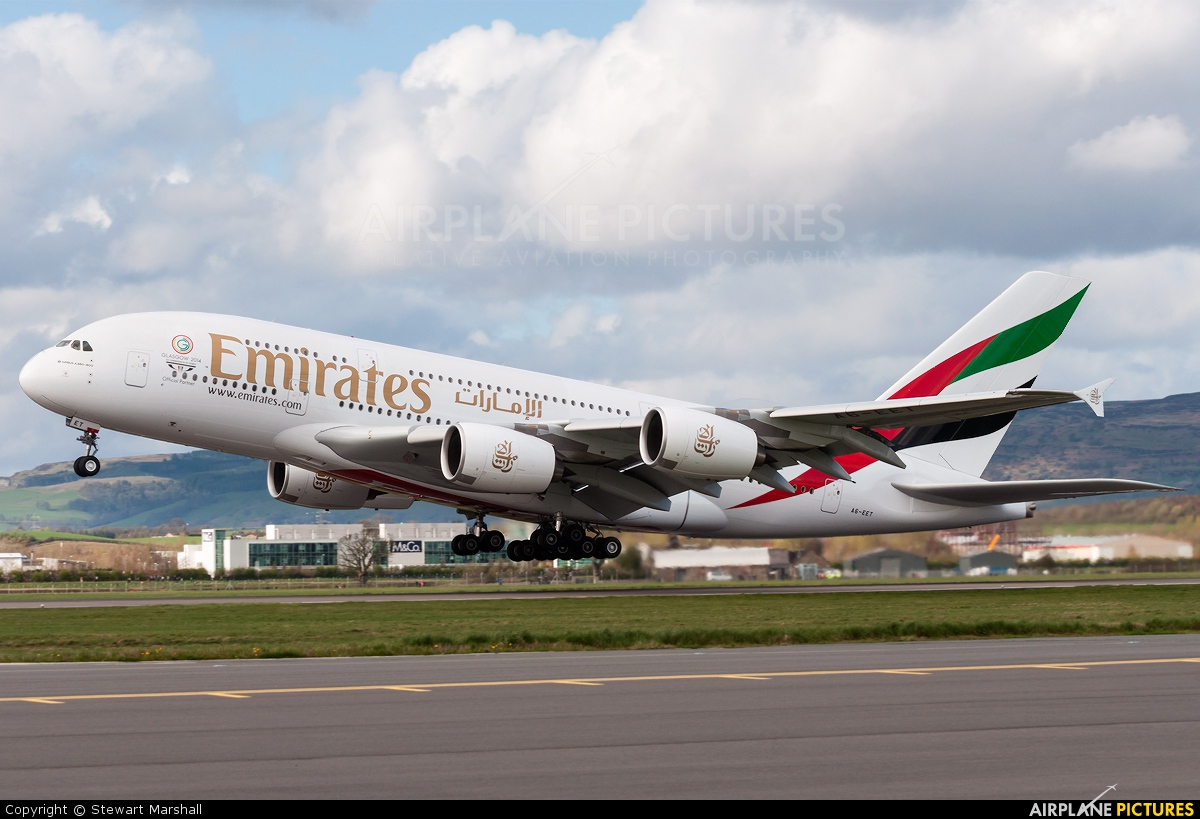 A6 Eet Emirates Airlines Airbus A380 At Glasgow Photo