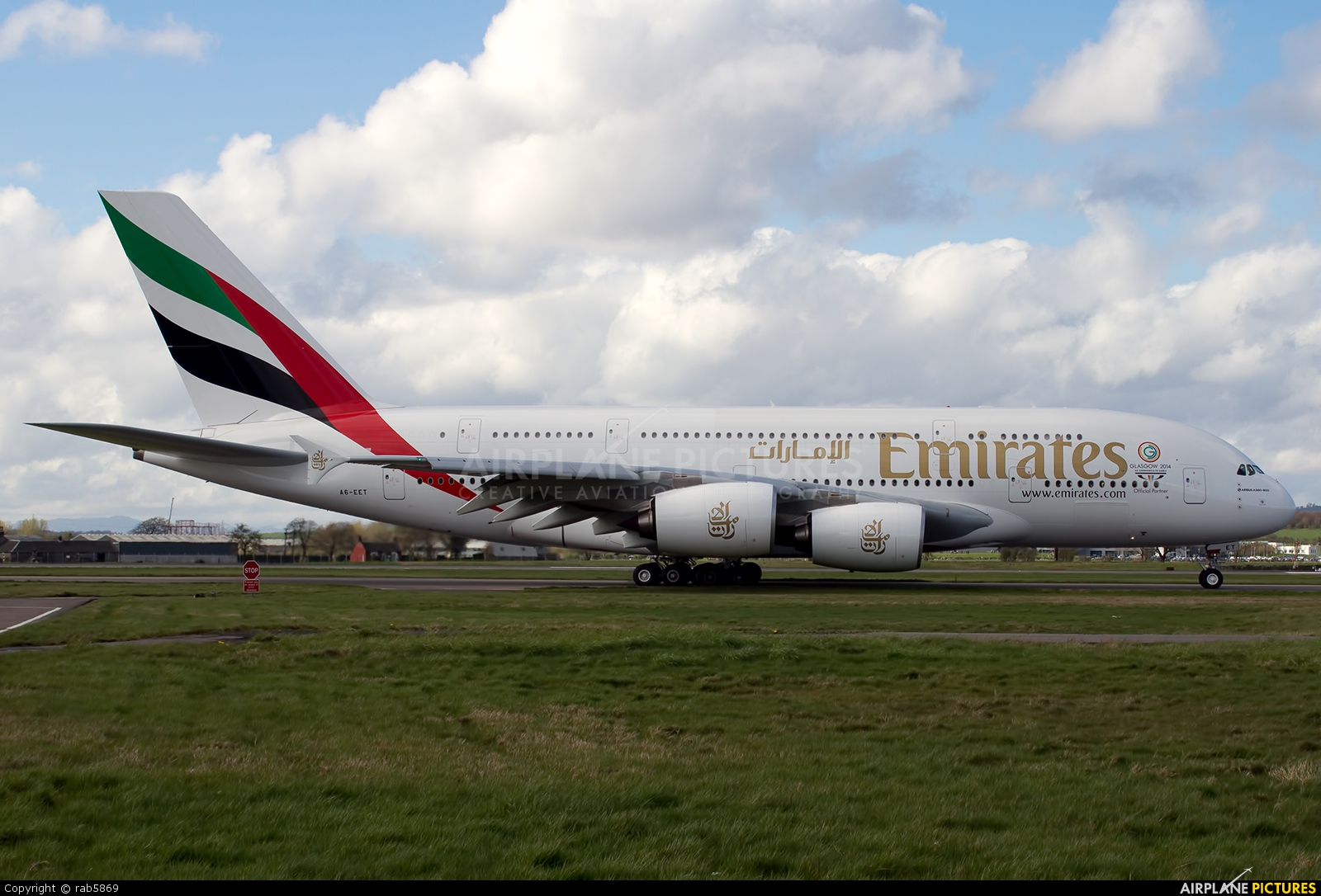 Emirates Airlines A6-EET aircraft at Glasgow