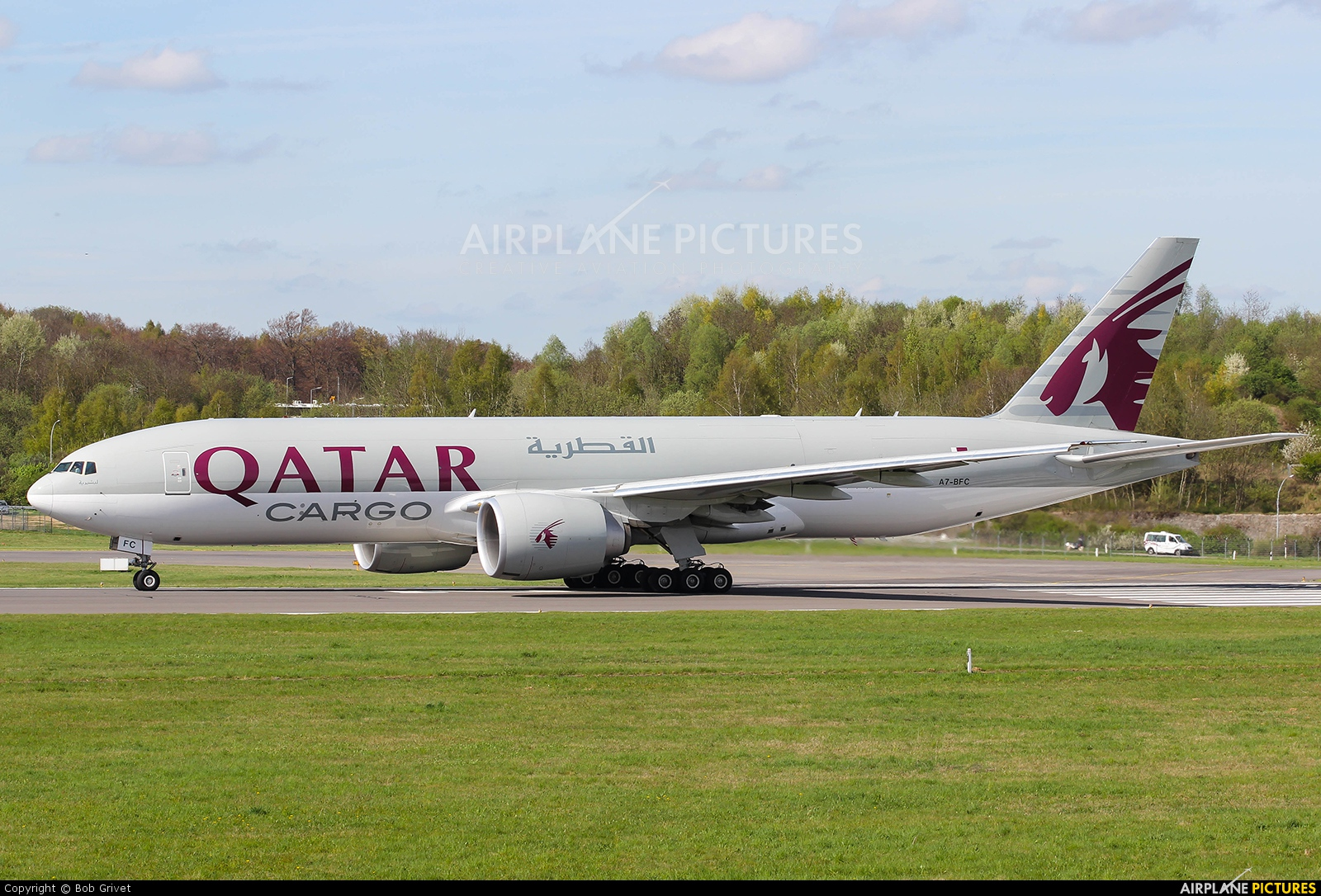 Qatar Airways Cargo A7-BFC aircraft at Luxembourg - Findel