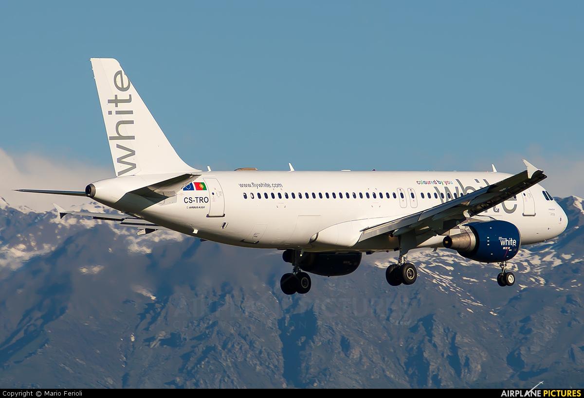 White Airways CS-TRO aircraft at Turin - Caselle