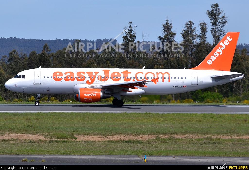 easyJet Switzerland HB-JZY aircraft at Santiago de Compostela