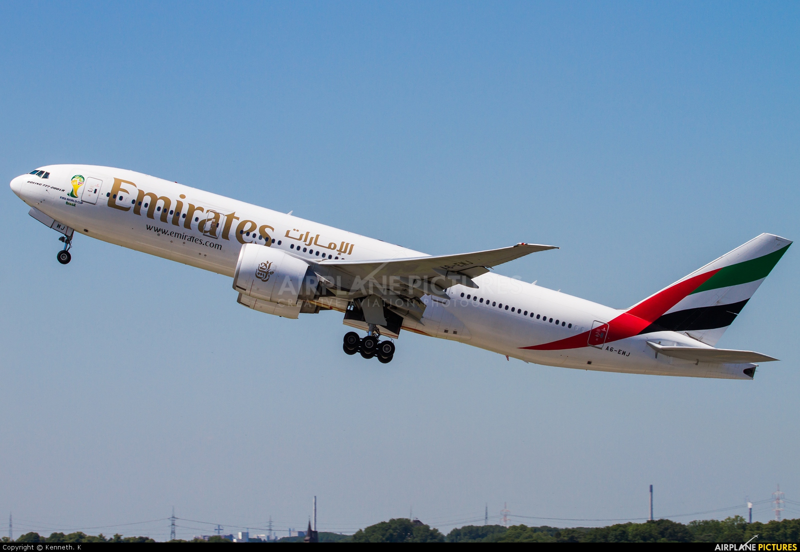Emirates Airlines A6-EWJ aircraft at Düsseldorf