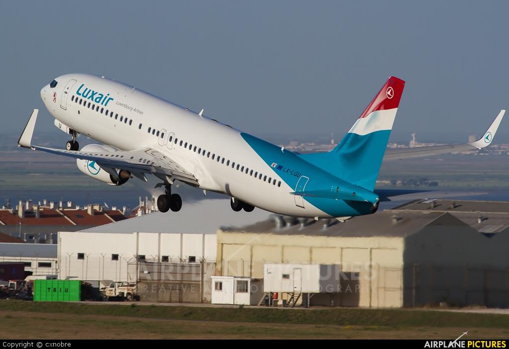 Luxair LX-LGU aircraft at Lisbon