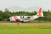US Coast Guard Hercules in Martinique title=