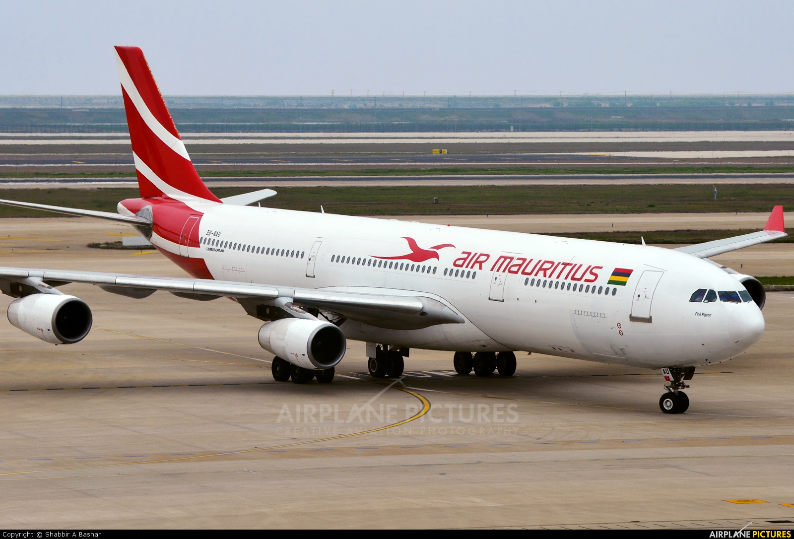 Air Mauritius 3B-NAU aircraft at Shanghai - Pudong Intl