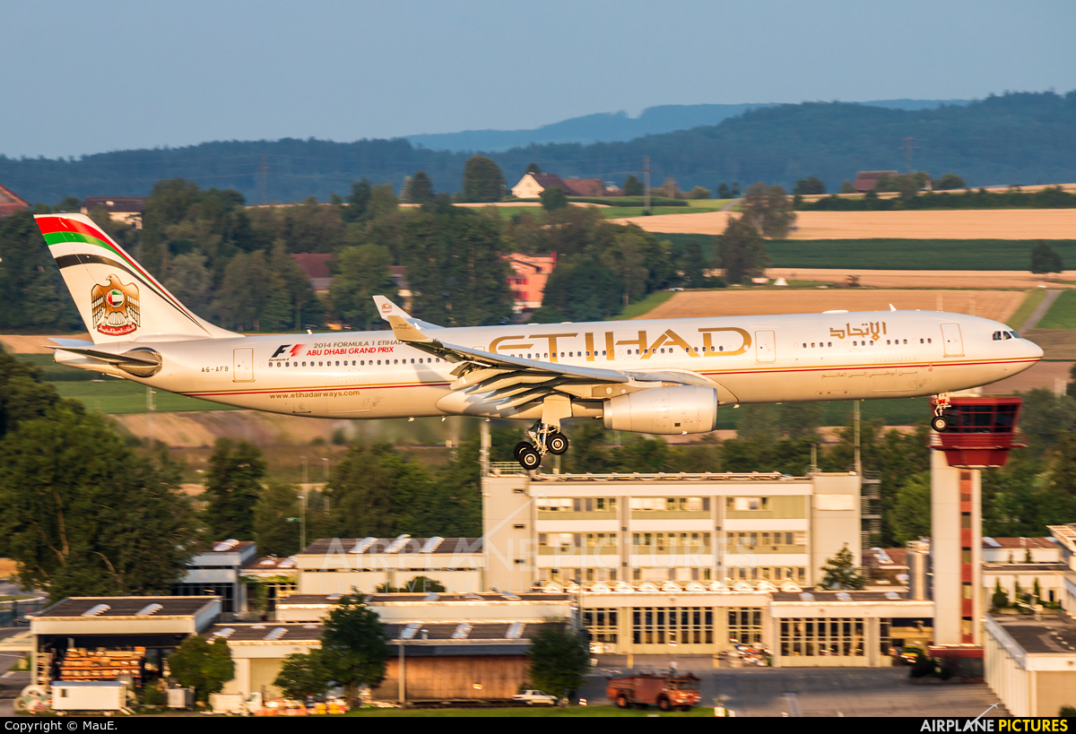 Etihad Airways A6-AFB aircraft at Zurich