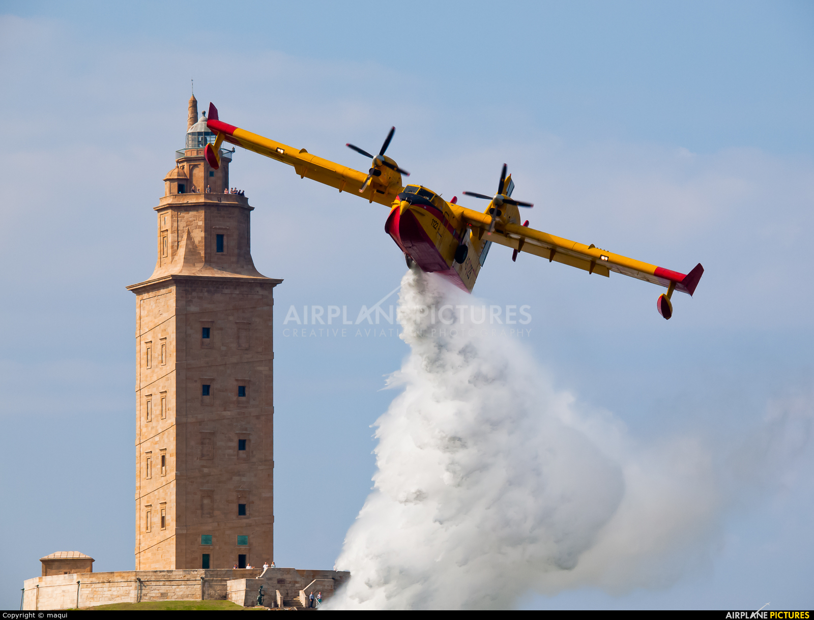 Spain - Air Force UD.13-28 aircraft at La Coruña - Torre de Hercules