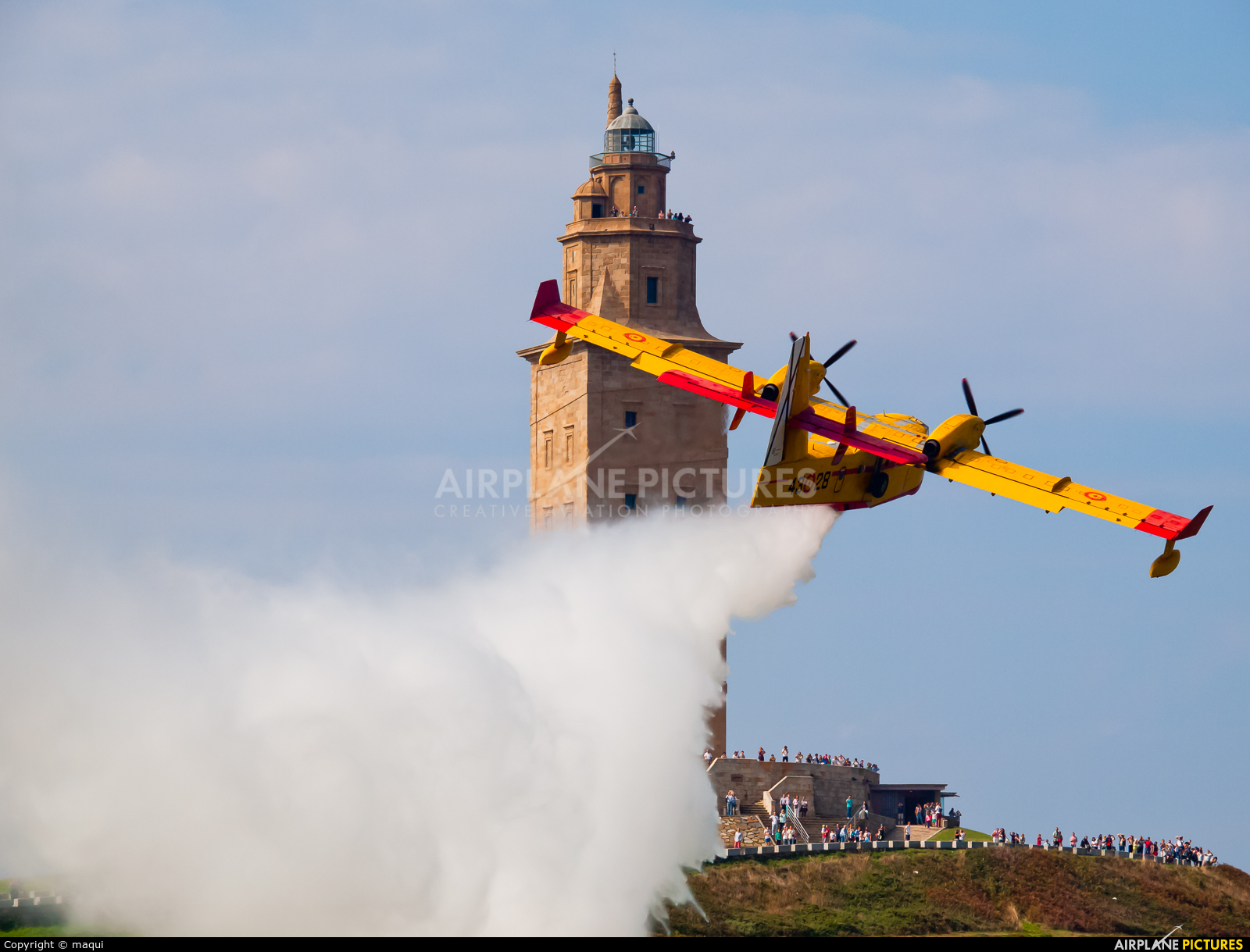 Spain - Air Force UD.13-28 aircraft at La Coruña - Torre de Hercules
