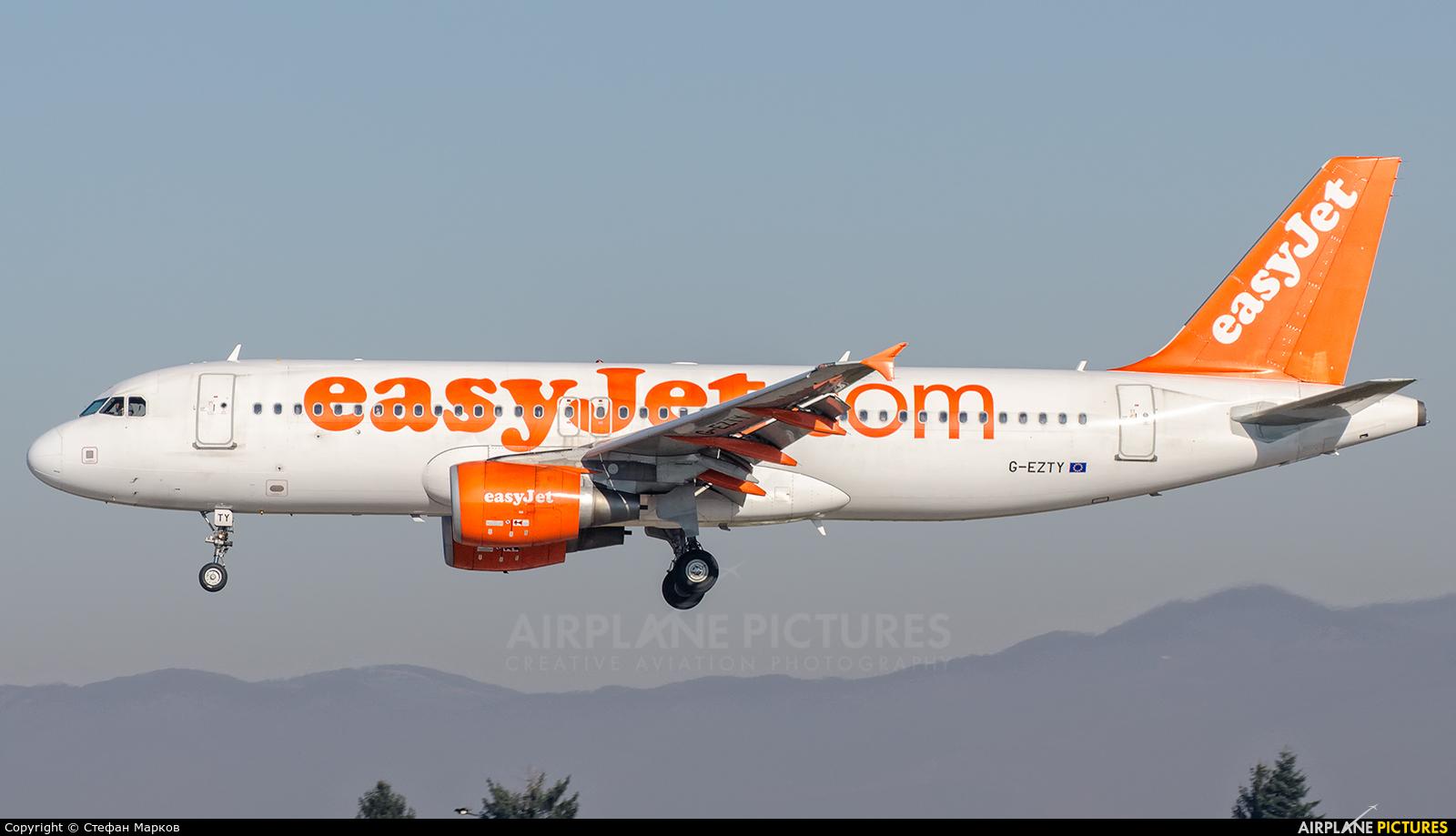 easyJet G-EZTY aircraft at Sofia