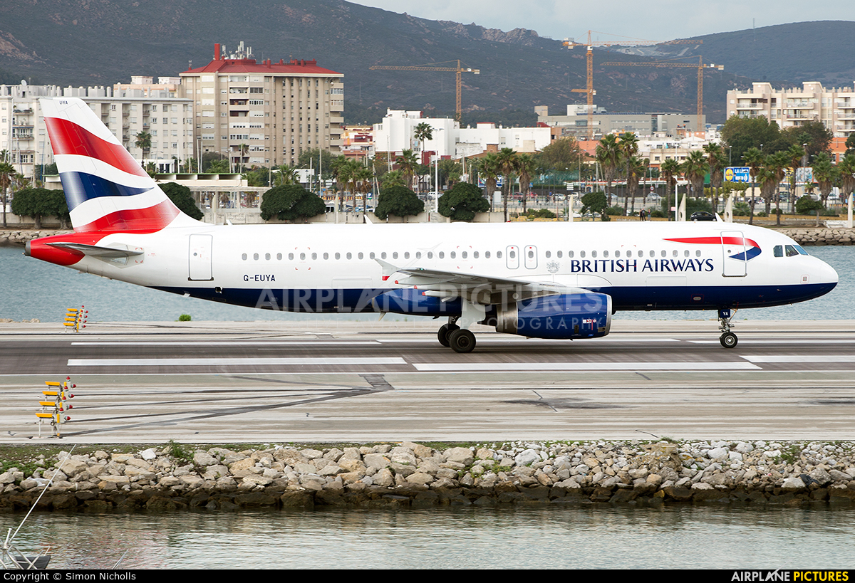 British Airways G-EUYA aircraft at Gibraltar
