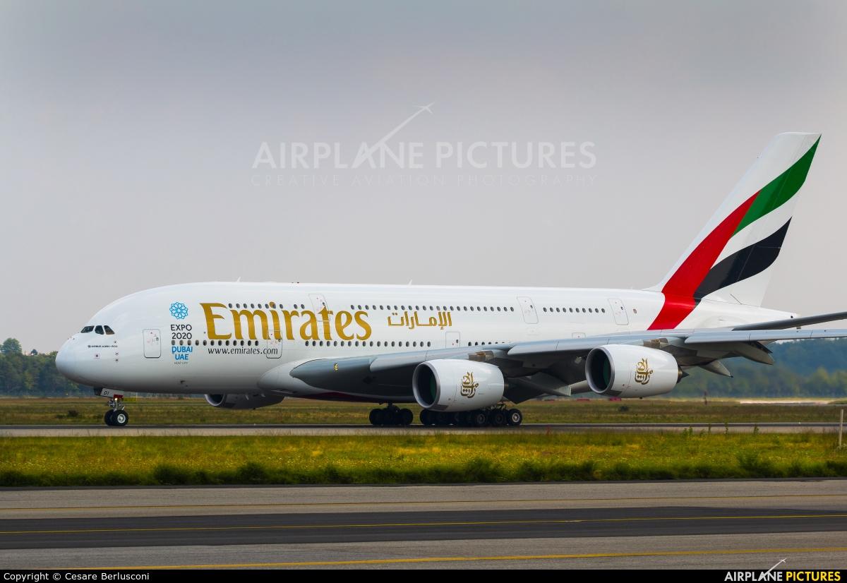 Emirates Airlines A6 EOI aircraft at Milan - Malpensa