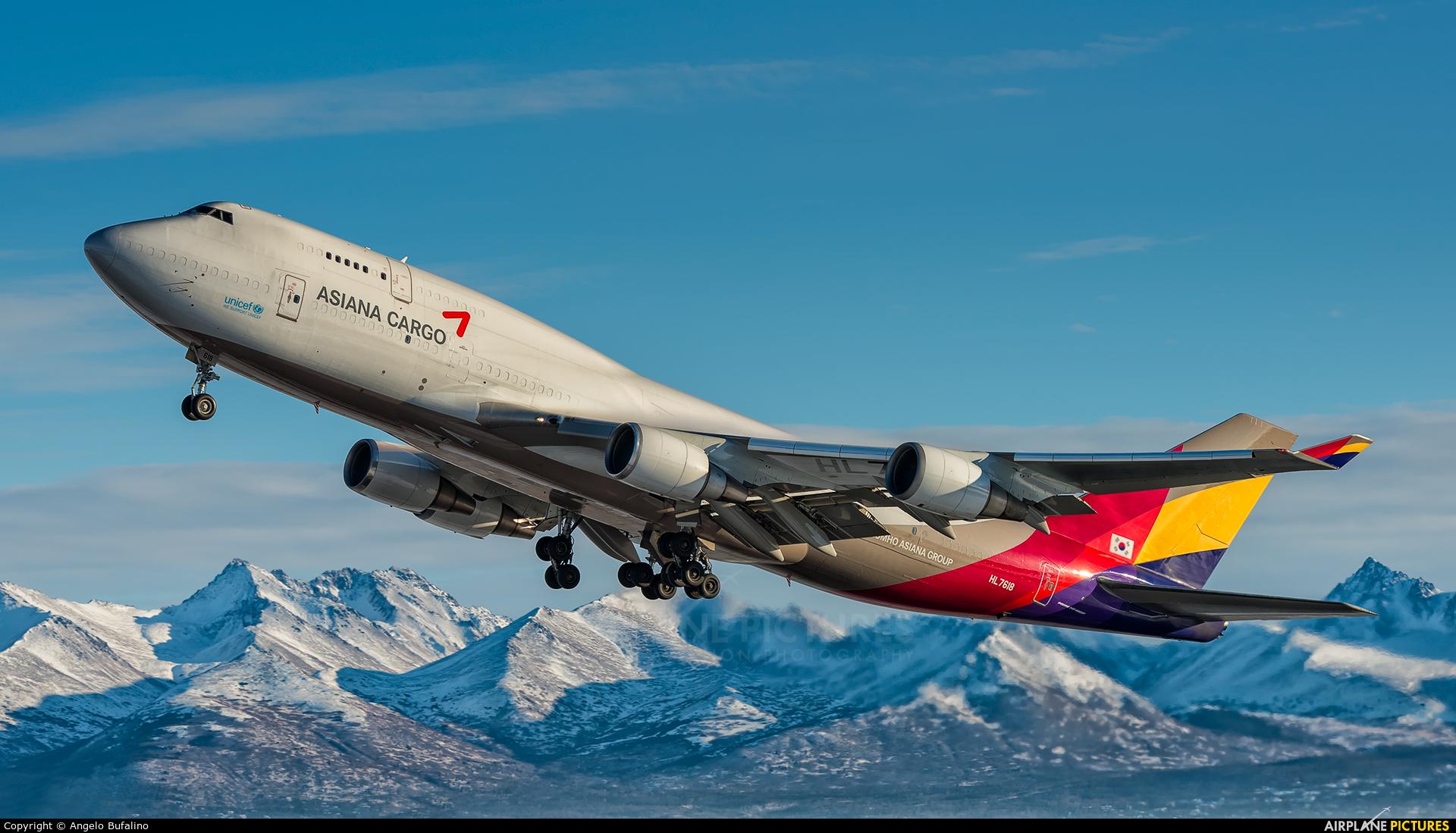 Asiana Cargo HL7618 aircraft at Anchorage - Ted Stevens Intl / Kulis Air National Guard Base