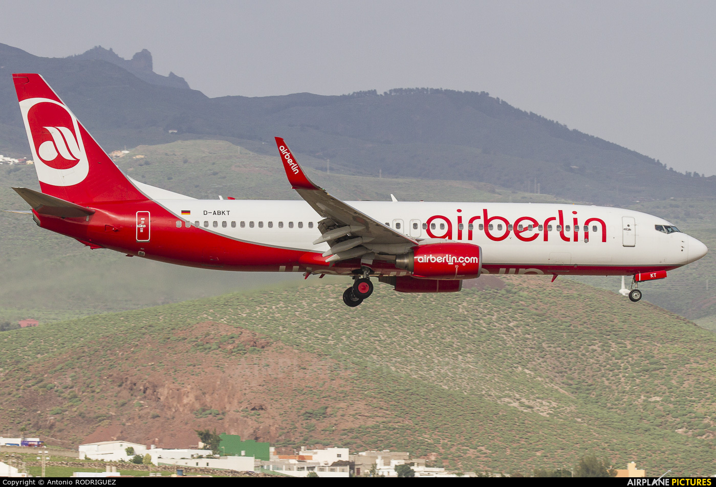 Air Berlin D-ABKT aircraft at Las Palmas de Gran Canaria